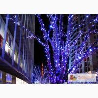 Новогодние украшения деревьев, праздничная подсветка.Монтаж гирлянд.