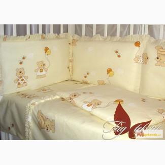 Постельное белье для новорожденных, Комплект Мишки бежевые