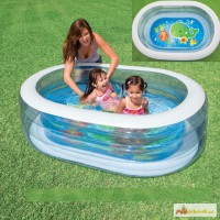 Детский надувной бассейн Овальный с широкими прозрачными бортиками 163х107х46см