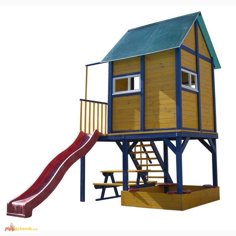 Фото 2. Детская площадка - домик с горкой Папин Домик