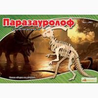 Динозавр Паразауролоф 3д пазлы-конструктор из дерева на пластинах лазерная резка