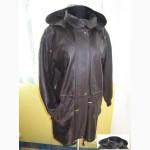 Оригинальная женская кожаная куртка с капюшеном. Лот 247