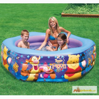 Детский надувной бассейн Винни Пух с надувным дном Intex: 191х178х24см