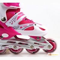 Ролики детские SuperPower PU 31-34 розовые. Мягкие полиуретановые колеса
