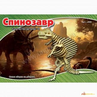 Динозавр Спинозавр 3д пазлы-конструктор из дерева на пластинах лазерная резка