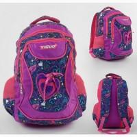Школьный рюкзак 1 отделение, 2 кармана, мягкая спинка принт сердечко