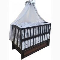 Акция! Кроватка маятник Малыш - 1699 грн. Цвета: венге, орех, ольха, ваниль, белая