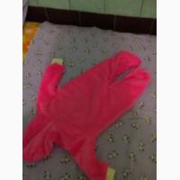 Піжамка тепла махрова для немовлят/человечек с капюшоном розового цвета