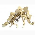 Динозавр Стегозавр 3д пазлы-конструктор из дерева на пластинах лазерная резка