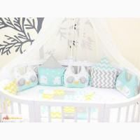 Дизайнерский комплект в овальную кроватку Домики и совушки