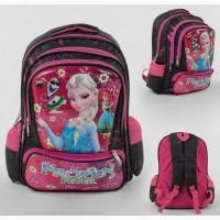 Рюкзак школьный для девочки frosen черно-розовый, массажная спинка
