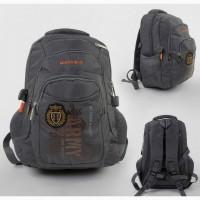 Рюкзак городской/школьный грудные стяжки, серый/черный, мягкая спинка