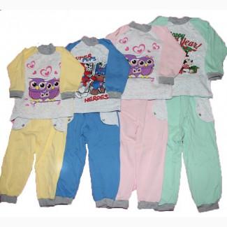 Теплая детская пижама байка от 1 до 9 лет