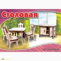 Набор мебели для кукол Столовая конструктор из дерева на пластинах лазерная резка