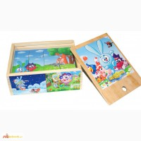 Деревянные кубики Смешарики, игрушка пазлы для детей 6 в 1