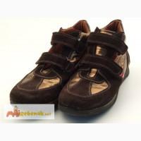 Стильные коричнево-золотые ботинки для девушки Kickers (Италия)