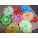 Пионы яркие цветы повязки на голову для маленьких модниц в наличии