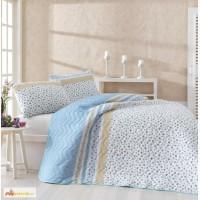 Купить покрывало евро Eponj Home Fashion голубое 200 220