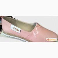 Женские кожаные эспадрильи розовый кварц, серебристые