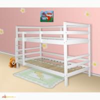 Двухъярусная кровать из сосны белая