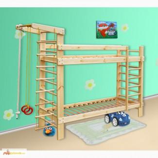Спортивная двухъярусная кровать из сосны