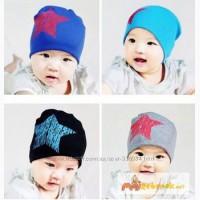 Демисезонные шапки для мальчика и девочки со звездой