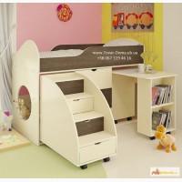 Детская Кровать-чердак со столом и лестницей-комодом. Недорого