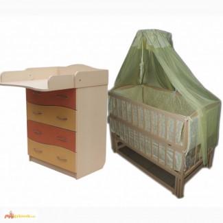 Акция! Комплект : Комод+ кроватка маятник+ матрас + постель. Новое