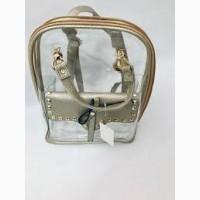 Стильный прозрачный рюкзак с косметичкой внутри