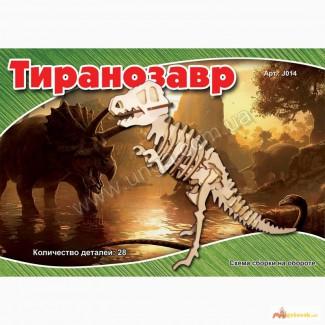Динозавр Тиранозавр 3д пазлы-конструктор из дерева на пластинах лазерная резка