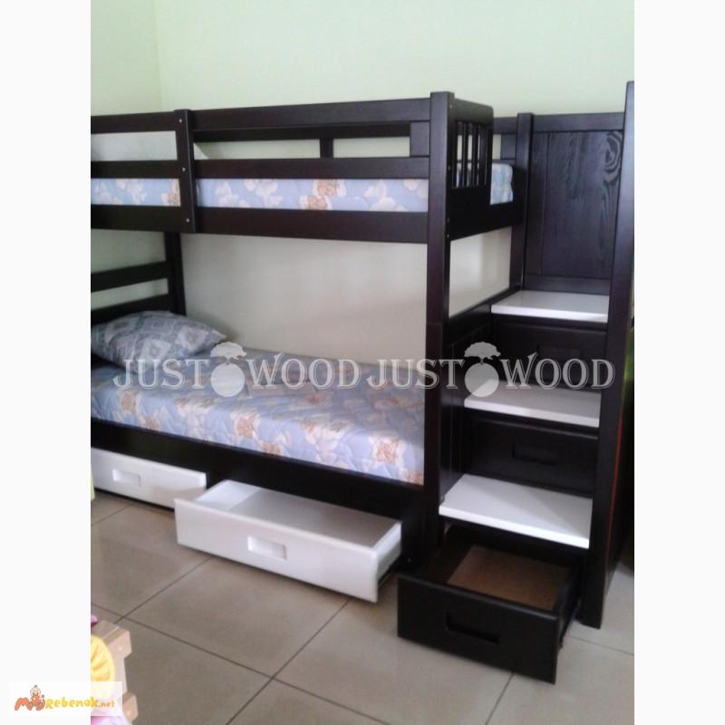 Фото 10. Двухъярусная кровать Шериф+ со ступенями из массива дерева