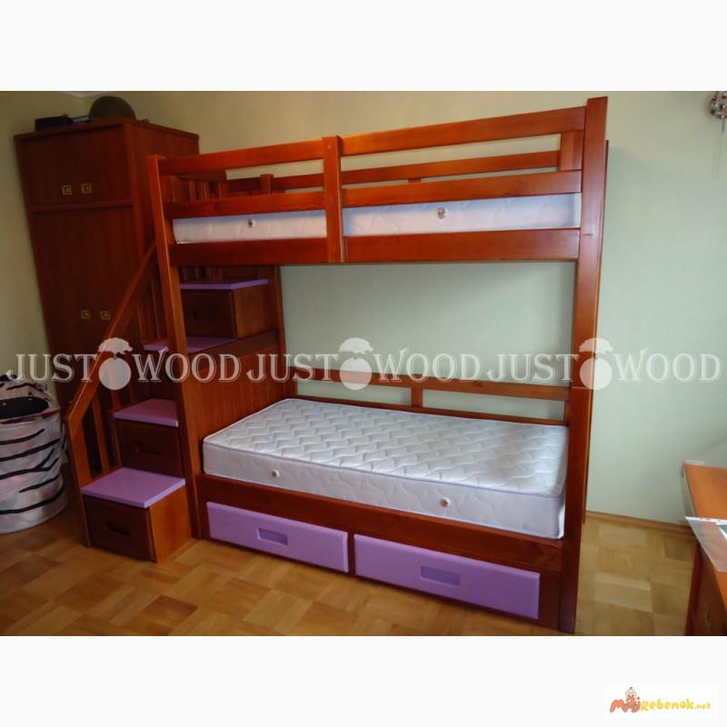 Фото 11. Двухъярусная кровать Шериф+ со ступенями из массива дерева