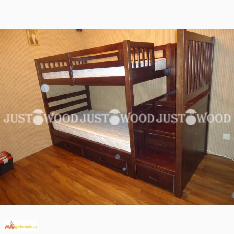Фото 4. Двухъярусная кровать Шериф+ со ступенями из массива дерева