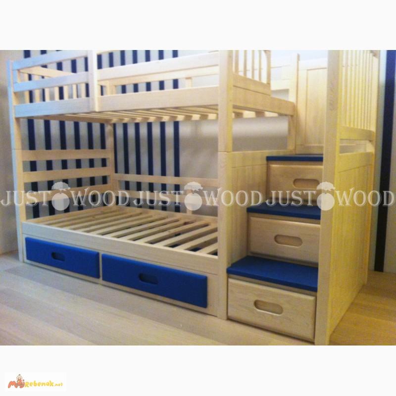 Фото 6. Двухъярусная кровать Шериф+ со ступенями из массива дерева