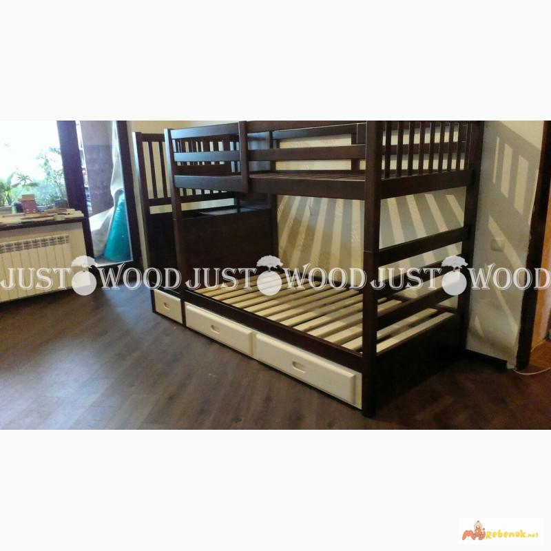 Фото 8. Двухъярусная кровать Шериф+ со ступенями из массива дерева