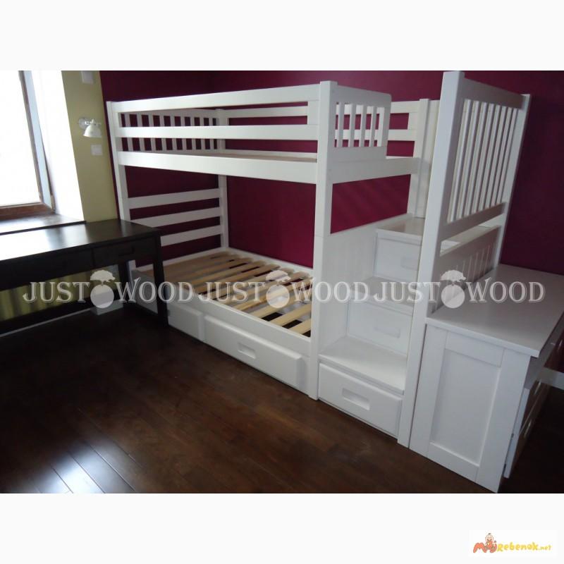 Фото 9. Двухъярусная кровать Шериф+ со ступенями из массива дерева