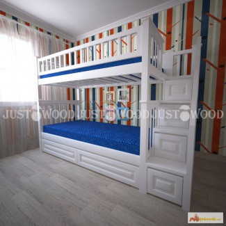 Двухъярусная кровать Простоквашино+ со ступенями из натурального дерева