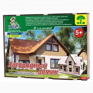 Загородный домик 3д пазлы-конструктор из дерева в коробке лазерная резка