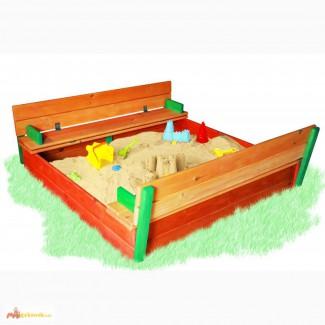 Детская песочница с крышкой цветная, 150х150см