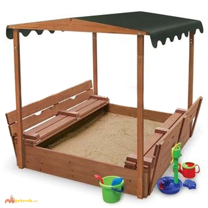 Фото 2. Детская песочница с крышкой, песочницы для детей, песочница деревянная(Pes-4)