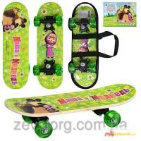 Скейтборд/скейт детский мини Bambi Маша и медведь: 43х13см