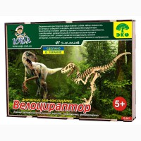 Динозавр Велоцираптор 3д пазлы-конструктор из дерева в коробке лазерная резка