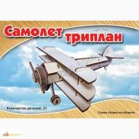 Самолёт Триплан 3д пазлы-конструктор из дерева на пластинах лазерная резка