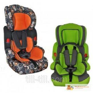 Автокресло детское, оранжевое, зеленое M 0522