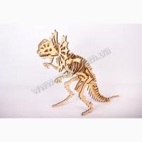 Динозавр Дилофозавр 3д пазлы-конструктор из дерева в коробке лазерная резка