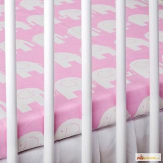 Лучшее постельное белье для новорожденных, Слоники розовые