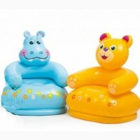 Надувное кресло интекс мишка желтое