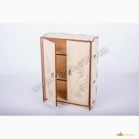 Кукольный шкаф с полками из дерева лазерная резка собственное производство