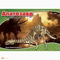 Динозавр Апатозавр 3д пазлы-конструктор из дерева на пластинах лазерная резка