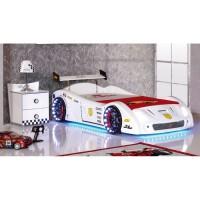 Машинка кровать V5 Turbo с подсветкой (белый)